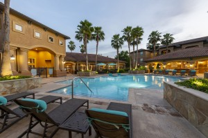 Three Bedroom Apartments for Rent in Northwest Houston, TX -Evening View of Pool Area